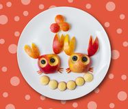 Crabs from red apples. Art food for children, crabs from red apples Stock Photography