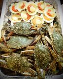Crabs and scallops seafood raw for bbq. A platter of raw seafoods, crab and scallop, prepared for barbecue.  Fresh sea food ingredients for grilling over Stock Photos