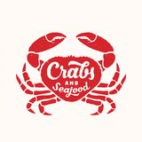 Crabs and Seafood Abstract Vector Sign, Emblem, Icon or Logo Template. Red Crab Silhouette with Retro Typography and. Shabby Texture. Isolated Royalty Free Stock Image
