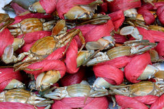 Crabs selling in market. Raw crabs selling in market in China, shown fresh material of dishes, and different cooking or local food culture Stock Image