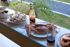 Crabs and shrimp, grilled Stock Image
