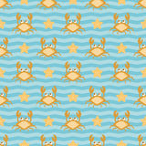 Crabs and stars. Seamless nautical pattern with funny cartoon crabs, striped background Stock Image