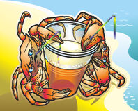 Crabs. Two red crab drink drink from a plastic cup through a tube on the beach Royalty Free Stock Photography