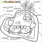 Crabs walking on the beach coloring book page Royalty Free Stock Photography