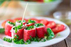 Crabstick Veggie Roll Fish Tofu Filling Royalty Free Stock Photos