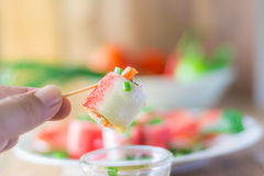 Crabstick Veggie Roll Fish Tofu Filling Stock Photography