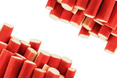 Crabsticks on white background stock image