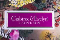Crabtree and Evelyn Logo. LONDON, UK - JANUARY 13TH 2017: A close-up of the Crabtree & Evelyn company logo, on 13th January 2017.  The compay are a global Stock Images
