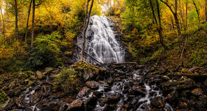 Crabtree Falls surrounded by Autumn Foliage stock image