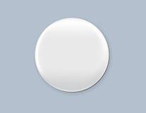 Crachá branco vazio Ilustração do vetor Modelo realístico Imagem de Stock Royalty Free