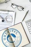 Crachá de alta qualidade Logo Premium Concept da garantia imagens de stock royalty free