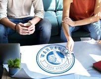 Crachá de alta qualidade Logo Premium Concept da garantia imagens de stock