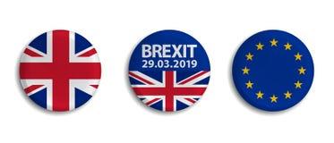 Crachá de Brexit ajustado - ilustrações do vetor - isolado no fundo branco ilustração royalty free