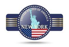Crachá de New York e símbolo brilhantes da estátua da liberdade do Estados Unidos Imagens de Stock
