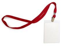 Crachá de nome com laço vermelho Fotos de Stock