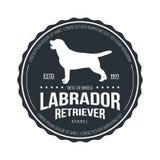 Crachá do cão do vintage Logotipo de labrador retriever ilustração do vetor