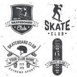 Crachá do clube do skate Ilustração do vetor Fotos de Stock Royalty Free