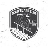 Crachá do clube do skate Ilustração do vetor Foto de Stock Royalty Free