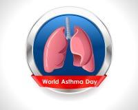 Crachá do dia da asma do mundo com pulmões - vector eps 10 Imagens de Stock