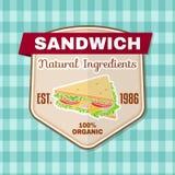 Crachá do fast food do vintage, bandeira ou emblema do logotipo ilustração do vetor