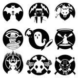 Crachá do monstro de Dia das Bruxas/Monochrome ajustado do emblema Foto de Stock Royalty Free