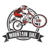 Crachá do motociclista da montanha com bandeira Imagem de Stock