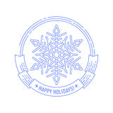 Crachá do Natal e do ano novo com floco de neve Fotos de Stock