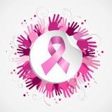 Crachá do social da mão da fita da conscientização do câncer da mama ilustração royalty free