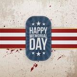 Crachá e fita felizes do cumprimento de Memorial Day ilustração do vetor