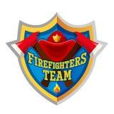 Crachá e logotipo da etiqueta do emblema do sapador-bombeiro no fundo branco Fotos de Stock