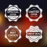 Crachá, etiqueta e etiqueta para a oferta especial Fotografia de Stock Royalty Free