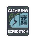 Crachá isolado vintage de escalada da expedição Fotografia de Stock Royalty Free