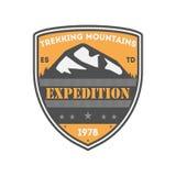 Crachá isolado vintage Trekking da expedição Foto de Stock Royalty Free
