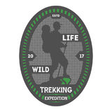Crachá isolado vintage trekking dos animais selvagens Imagem de Stock Royalty Free