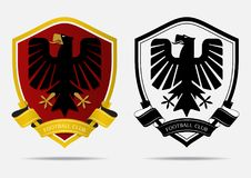 Crachá Logo Design Template do futebol do futebol Identidade da equipe de esporte Fotos de Stock
