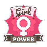 Crachá, logotipo ou ícone do poder da menina com símbolo fêmea no fundo cor-de-rosa Foto de Stock