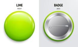 Crachá ou botão lustroso do cal da placa 3d rendem Pino plástico redondo, emblema, etiqueta voluntária Parte dianteira e verso Ve ilustração stock