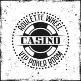 Crachá ou emblema redondo do casino no fundo do grunge fotografia de stock royalty free
