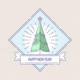 Crachá ou etiquetas do vintage com árvore de Natal Imagens de Stock