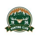 Crachá redondo do clube de caça com chifres dos cervos ilustração stock