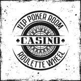 Crachá redondo do vetor do casino com roda de roleta imagens de stock royalty free