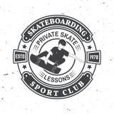Crachá Skateboarding do clube de esporte Ilustração do vetor Imagens de Stock Royalty Free