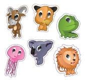 Crachás bonitos do vetor dos desenhos animados com animais Foto de Stock Royalty Free