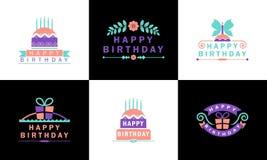 Crachás coloridos do feliz aniversario ilustração do vetor