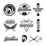 Crachás da barbearia ajustados Ilustração do vintage do vetor Fotografia de Stock Royalty Free