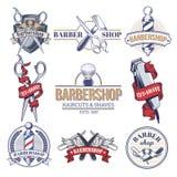 Crachás da coleção, logotipos com barbeiro Fotos de Stock Royalty Free