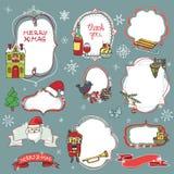 Crachás da garatuja da estação do Natal, símbolos ilustração do vetor