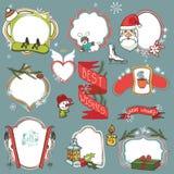 Crachás da garatuja da estação do Natal, símbolos do inverno ilustração royalty free