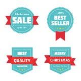 Crachás da venda do Feliz Natal Ilustração do vetor Fotos de Stock Royalty Free