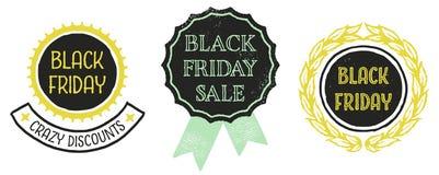 Crachás de Black Friday Fotografia de Stock Royalty Free